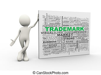 3d man standing with trademark wordcloud word tags