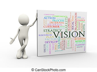 3d man standing with vision wordcloud word tags