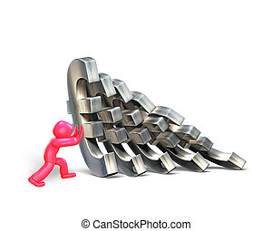 3d man stopping domino effect of Euro money, 3D illustration