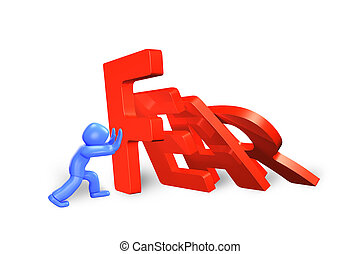 3d man stopping domino of fear word falling, 3D illustration