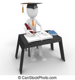 3d man student taking a test isolated on white