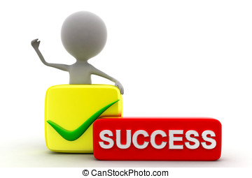 3d man success concept