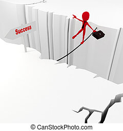 3d man success in business concept