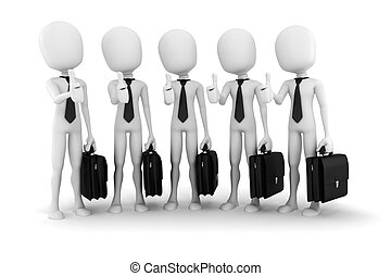 3d man success in business; on white background