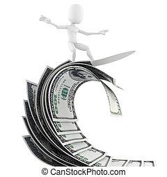3d man surfing on money