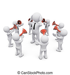 3D man surrounded by crowd with megaphones - 3D man wearing...