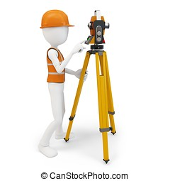 3d man surveyor with station ,hardhat and safety vest on...