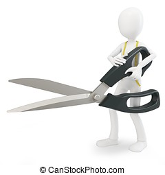 3d man tailor with scissor on white background