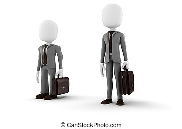 3d man tall and short businessman