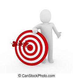 3d man target red - 3d human man target center success red ...