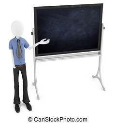3d man teacher with blackboard