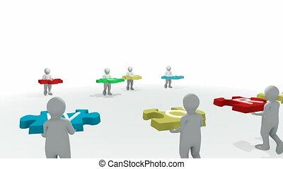 "3d-man, \\\""team, puzzle, work\\\"""