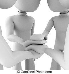 3d man teamwork, isolated on white
