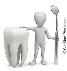 3D man - the dentist. - 3D man holding a tooth and a mirror....