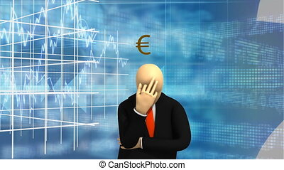 Animated graphics showing 3d man standing and thinking of money isolated