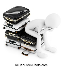 3d man thinking where to travel, sitting on a  pile of suitcases isolated on white background