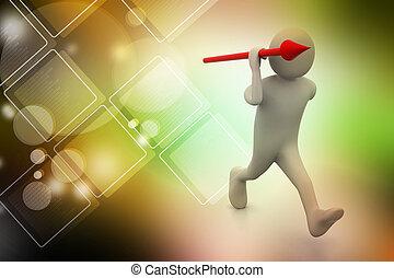 3d man throws a spear