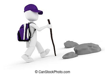 3d, man, toerist, met, een, groot, schooltas, beklimming,...