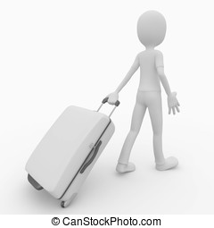 3d man traveler with suitcase - 3d man pulling a white...