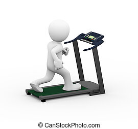 3d man treadmill exercise - 3d rendering of man running and...