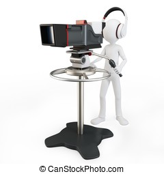 3d man tv operator with camera on white background