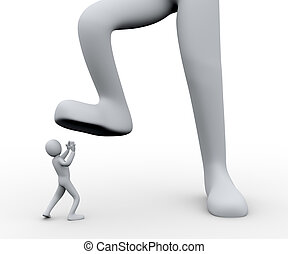 3d man under foot - 3d illustration of boss's foot stepping...