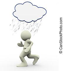 3d man under rain