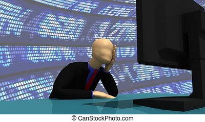3d-man, usando, suo, computer