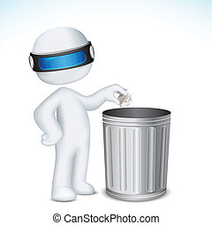 illustration of 3d man in fully scalable vector putting paper crushed in dustbin