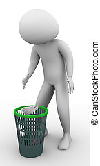 3d man using waste basket - 3d man throwing trash into waste...