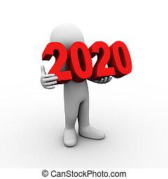 3d, man, vasthouden, 2020