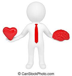 3d, man, vasthouden, een, hart, en, een, hersenen