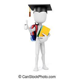 3d, man, vasthouden, enig, boekjes , opleiding