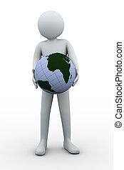3d, man, vasthouden, globe