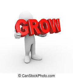 3d, man, vasthouden, woord, groeien