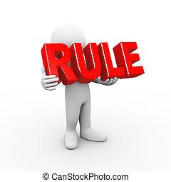 3d, man, vasthouden, woord, regel