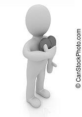 """3d, man, vasthouden, zijn, hand, om te, zijn, heart., concept:, """"from, de, heart"""""""