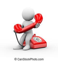 3d, man, vasthoudende telefoon