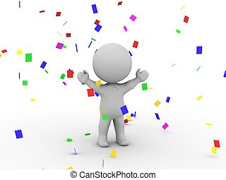 3D Man Victory Confetti - A 3D man with arms raised and...