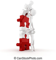 3d, man, voortvarend, een, puzzelstuk, in, zijn, plek