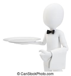 3d man waiter with empty tray