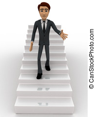 3d man walking down from stairs concept