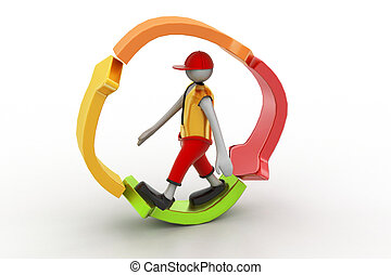 3d man walking in recycle icon