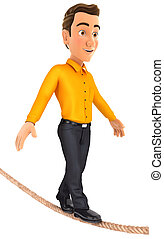 3d man walking on a rope, illustration with isolated white...