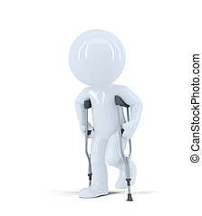 3d man walking on crutches. Isolated on white background