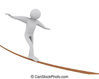 3d man walking on rope