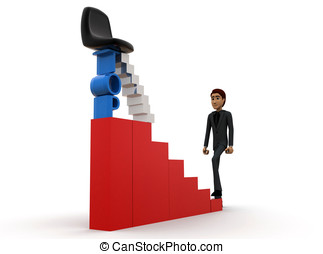 3d man walking on stairs to reach the top  concept