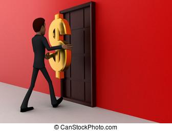 3d man walking towards door with golden dollar holding hands concept