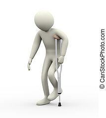 3d man walking with crutch