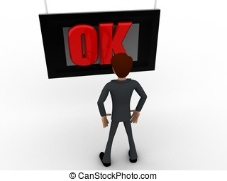 3d man watching ok on tv screen concept